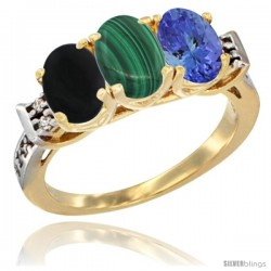 10K Yellow Gold Natural Black Onyx, Malachite & Tanzanite Ring 3-Stone Oval 7x5 mm Diamond Accent
