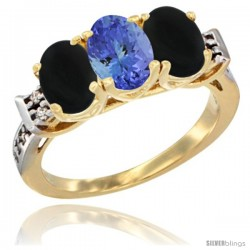10K Yellow Gold Natural Tanzanite & Black Onyx Sides Ring 3-Stone Oval 7x5 mm Diamond Accent