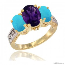10K Yellow Gold Ladies 3-Stone Oval Natural Amethyst Ring with Turquoise Sides Diamond Accent