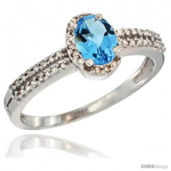 14k White Gold Ladies Natural Swiss Blue Topaz Ring oval 6x4 Stone Diamond Accent -Style Cw404178
