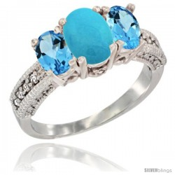 14k White Gold Ladies Oval Natural Turquoise 3-Stone Ring with Swiss Blue Topaz Sides Diamond Accent