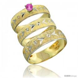 10k Gold 3-Piece Trio Pink Sapphire Wedding Ring Set Him & Her 0.10 ct Rhodium Accent Diamond-cut Pattern -Style 10y507w3