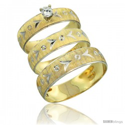 10k Gold 3-Piece Trio White Sapphire Wedding Ring Set Him & Her 0.10 ct Rhodium Accent Diamond-cut Pattern -Style 10y507w3