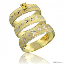 10k Gold 3-Piece Trio Yellow Sapphire Wedding Ring Set Him & Her 0.10 ct Rhodium Accent Diamond-cut Pattern -Style 10y507w3