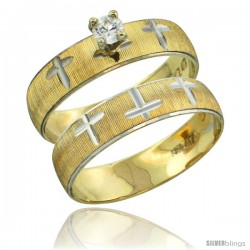 10k Gold Ladies' 2-Piece 0.10 Carat Diamond Engagement Ring Set Diamond-cut Pattern Rhodium Accent, 3/16 in -Style 10y508e2