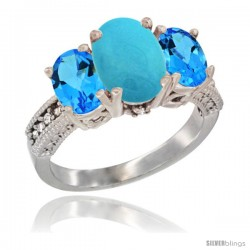 14K White Gold Ladies 3-Stone Oval Natural Turquoise Ring with Swiss Blue Topaz Sides Diamond Accent