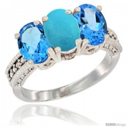 14K White Gold Natural Turquoise & Swiss Blue Topaz Sides Ring 3-Stone 7x5 mm Oval Diamond Accent