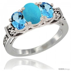 14K White Gold Natural Turquoise & Swiss Blue Topaz Ring 3-Stone Oval with Diamond Accent