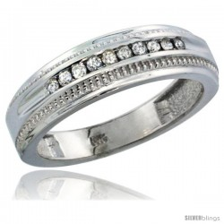 10k White Gold 10-Stone Milgrain Design Ladies' Diamond Ring Band w/ 0.30 Carat Brilliant Cut Diamonds, 1/4 in. (6mm) wide