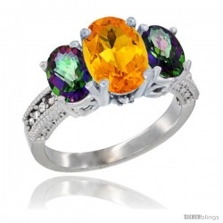 10K White Gold Ladies Natural Citrine Oval 3 Stone Ring with Mystic Topaz Sides Diamond Accent