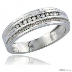 10k White Gold 11-Stone Milgrain Design Men's Diamond Ring Band w/ 0.30 Carat Brilliant Cut Diamonds, 1/4 in. (6.5mm) wide