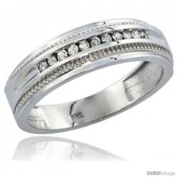 10k White Gold 11-Stone Milgrain Design Men's Diamond Ring Band w/ 0.30 Carat Brilliant Cut Diamonds, 1/4 in. (6.5mm) wide