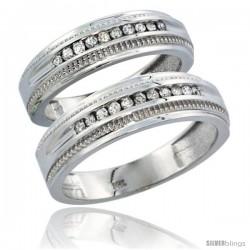 10k White Gold 2-Piece His (6.5mm) & Hers (6mm) Diamond Wedding Ring Band Set w/ 0.60 Carat Brilliant Cut Diamonds