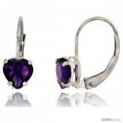 10k White Gold Natural Amethyst Heart Leverback Earrings 6mm February Birthstone, 9/16 in tall