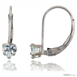 10k White Gold Natural Aquamarine Leverback Heart Earrings 4mm March Birthstone, 9/16 in tall