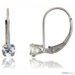10k White Gold Natural Aquamarine Leverback Earrings 4mm Brilliant Cut March Birthstone, 9/16 in tall
