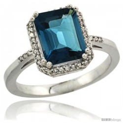 Sterling Silver Diamond Natural London Blue Topaz Ring 2.53 ct Emerald Shape 9x7 mm, 1/2 in wide