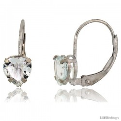10k White Gold Natural Aquamarine Leverback Heart Earrings 6mm March Birthstone, 9/16 in tall