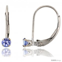 10k White Gold Natural Blue Topaz Leverback Earrings 2.5mm Brilliant Cut December Birthstone, 9/16 in tall