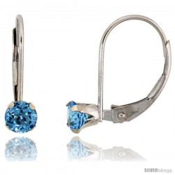 10k White Gold Natural Blue Topaz Leverback Earrings 4mm Brilliant Cut December Birthstone, 9/16 in tall