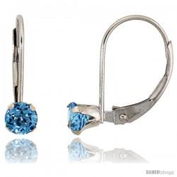 10k White Gold Natural Blue Topaz Leverback Earrings 4mm Brilliant Cut December Birthstone, 9/16 in tall