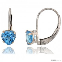 10k White Gold Natural Blue Topaz Heart Leverback Earrings 5mm December Birthstone, 9/16 in tall