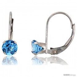10k White Gold Natural Blue Topaz Leverback Earrings 5mm Brilliant Cut December Birthstone, 9/16 in tall