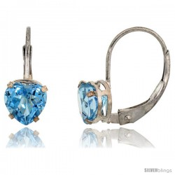 10k White Gold Natural Blue Topaz Heart Leverback Earrings 6mm December Birthstone, 9/16 in tall