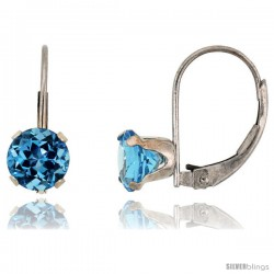 10k White Gold Natural Blue Topaz Leverback Earrings 6mm Brilliant Cut December Birthstone, 9/16 in tall