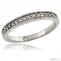 10k White Gold Ladies' 3mm Diamond Wedding Ring Band w/ 0.168 Carat Brilliant Cut Diamonds