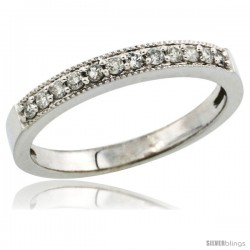 10k White Gold 2.5mm Diamond Wedding Ring Band w/ 0.176 Carat Brilliant Cut Diamonds