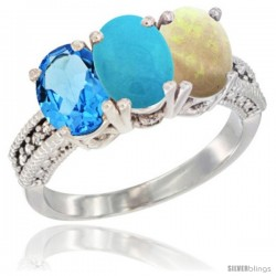 14K White Gold Natural Swiss Blue Topaz, Turquoise & Opal Ring 3-Stone 7x5 mm Oval Diamond Accent
