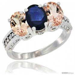 14K White Gold Natural Blue Sapphire & Morganite Sides Ring 3-Stone Oval 7x5 mm Diamond Accent