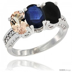 14K White Gold Natural Morganite, Blue Sapphire & Black Onyx Ring 3-Stone Oval 7x5 mm Diamond Accent