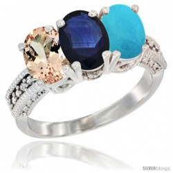 14K White Gold Natural Morganite, Blue Sapphire & Turquoise Ring 3-Stone Oval 7x5 mm Diamond Accent
