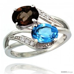 14k White Gold ( 8x6 mm ) Double Stone Engagement Swiss Blue & Smoky Topaz Ring w/ 0.07 Carat Brilliant Cut Diamonds & 2.34