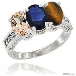 14K White Gold Natural Morganite, Blue Sapphire & Tiger Eye Ring 3-Stone Oval 7x5 mm Diamond Accent