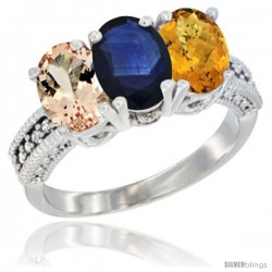 14K White Gold Natural Morganite, Blue Sapphire & Whisky Quartz Ring 3-Stone Oval 7x5 mm Diamond Accent