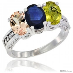 14K White Gold Natural Morganite, Blue Sapphire & Lemon Quartz Ring 3-Stone Oval 7x5 mm Diamond Accent
