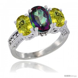 10K White Gold Ladies Natural Mystic Topaz Oval 3 Stone Ring with Lemon Quartz Sides Diamond Accent