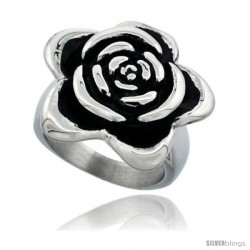 Stainless Steel Double Rose Flower 13/16 in long