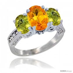 10K White Gold Ladies Natural Citrine Oval 3 Stone Ring with Lemon Quartz Sides Diamond Accent