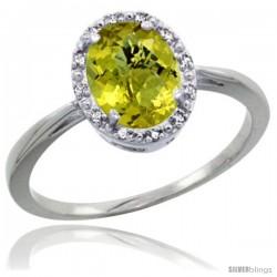10k White Gold Lemon Quartz Diamond Halo Ring 8X6 mm Oval Shape, 1/2 in wide