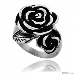 Stainless Steel Rose Flower 7/8 in long