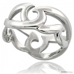 Sterling Silver Ring Flawless finish w/ Wave Pattern, 3/8 in wide