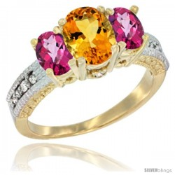 14k Yellow Gold Ladies Oval Natural Citrine 3-Stone Ring with Pink Topaz Sides Diamond Accent