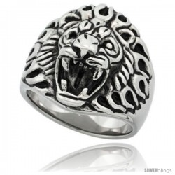 Surgical Steel Biker Ring Lion Head 11/16 in long