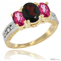 14k Yellow Gold Ladies Oval Natural Garnet 3-Stone Ring with Pink Topaz Sides Diamond Accent