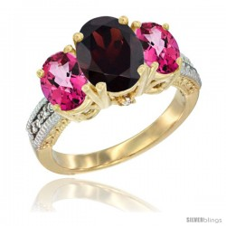 14K Yellow Gold Ladies 3-Stone Oval Natural Garnet Ring with Pink Topaz Sides Diamond Accent