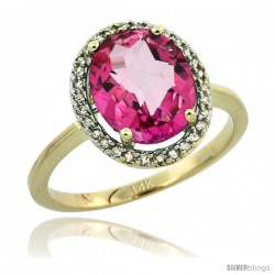 14k Yellow Gold Diamond Halo Pink Topaz Ring 2.4 carat Oval shape 10X8 mm, 1/2 in (12.5mm) wide